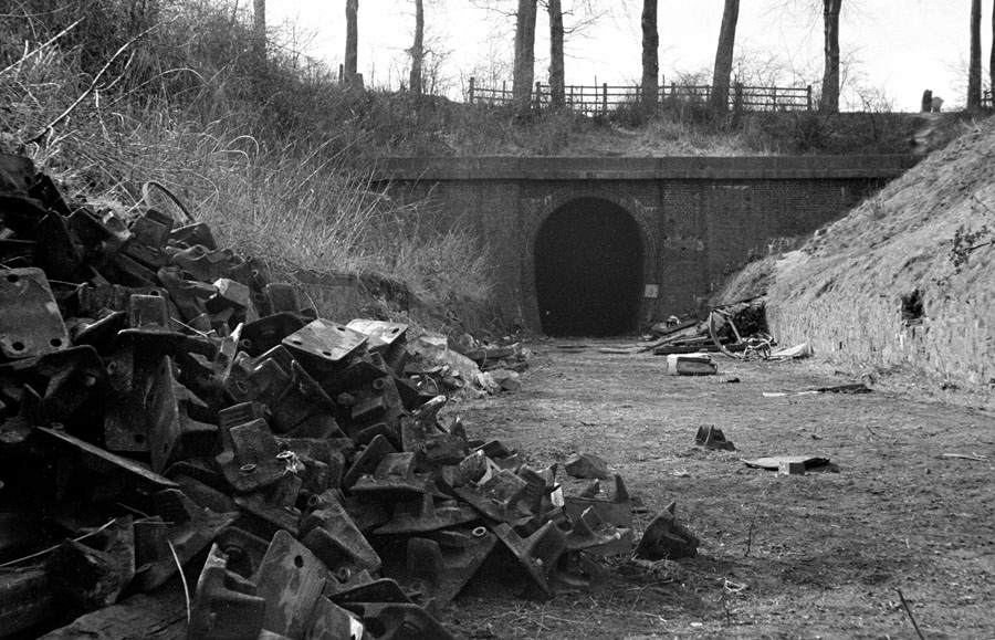 The east portal of Glenfield Tunnel, Leicester and Swannington Railway.