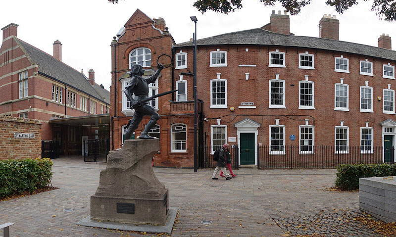 RIchard III statue, Richard III Visitor Centre, and Leicester Cathedral Panorama Photograph